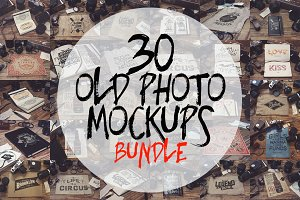 30 Old Photo Mockups Bundle
