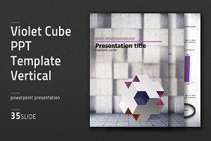 Violet Cube PPT Template Vertical