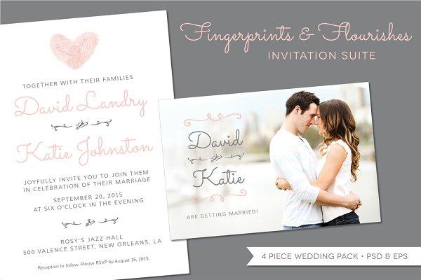 Fingerprint Wedding Invitation Suit…