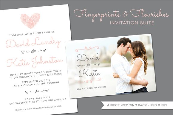 Buy Wedding Invitations Online Uk: Fingerprint Wedding Invitation Suite