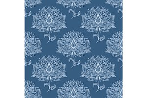 Blue paisley flowers seamless patter