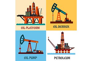 Petroleum production and oil derrick