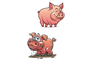 Cartoon dirty piggy and clean pink p