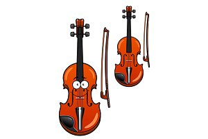 Smiling cartoon violin character wit