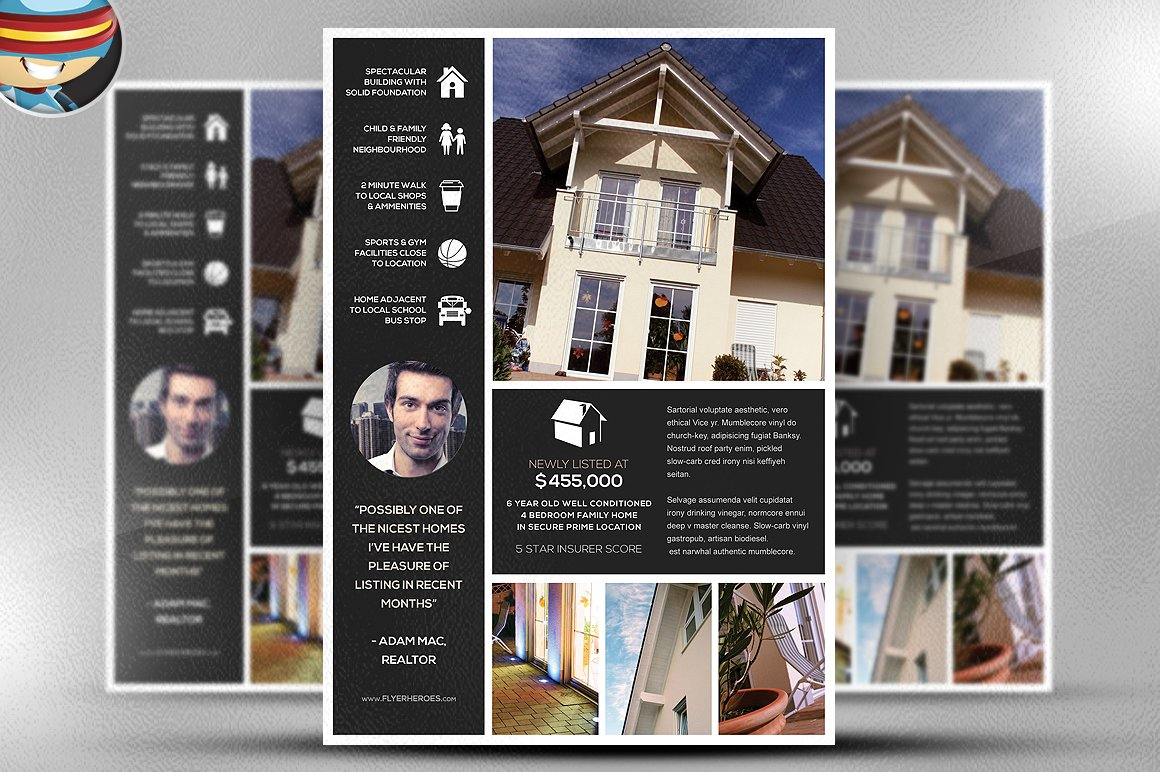 new listing flyer template flyer templates creative market. Black Bedroom Furniture Sets. Home Design Ideas