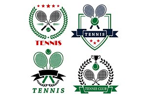 Tennis club logo with crossed racket