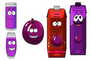 Cartoon plum juice packs with glasse