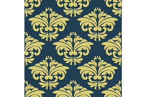 Vintage floral yellow damask seamles