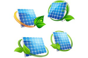 Cartoon solar panel with leafy frame