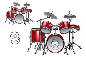 Red drum kit cartoon character