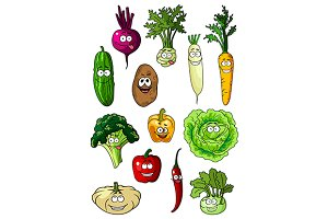 Happy smiling fresh garden vegetable