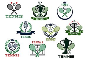Tennis emblems with items