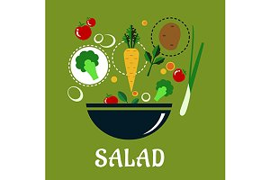 Cooking salad design with vegetables