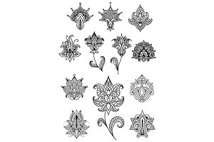 Paisley design elements with outline