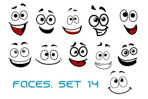Cartoon faces with happiness and joy