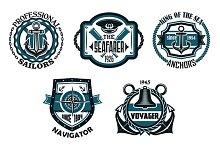 Nautical retro blue emblems with mar