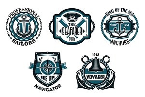 Nautical retro blue emblems with mar
