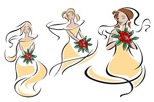Brides or bridesmaids silhouettes wi