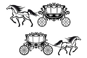 Antique decorated carriages with hor