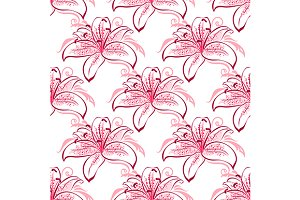 Pink and purple lilies seamless patt