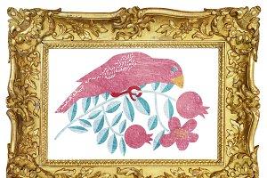 A pink bird on a branch