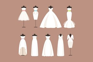 Vector set of wedding dresses