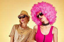 Fashion beauty people, hipster woman, sisters friends, afro