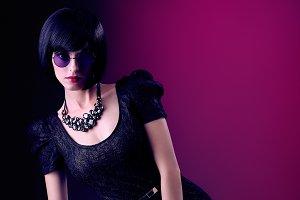 Fashion beauty sexy slim brunette woman. Unusual creative people