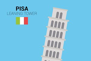 Leaning Tower, Pisa (Italy). Vector