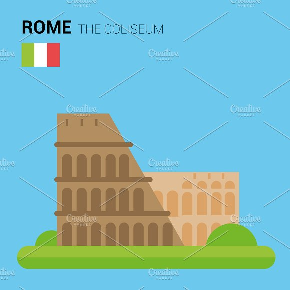 The Coliseum, Rome (Italy). Vector - Illustrations