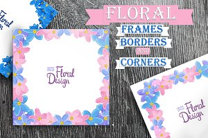 Forget-me-not floral frames