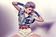 Fashion beauty sexy slim woman, unusual creative people, vintage
