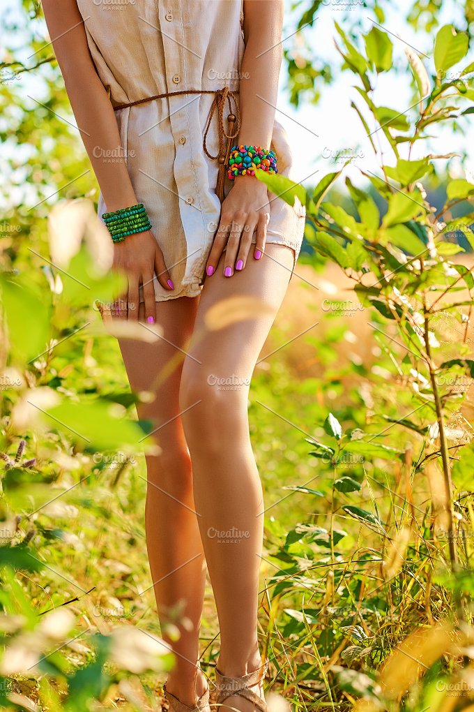 Woman walks in the garden, outdoors. Nature relax - People
