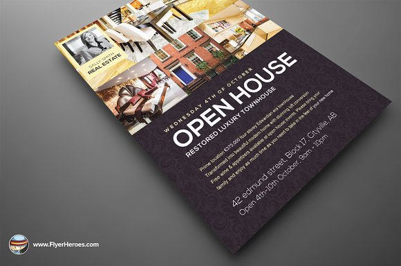 Open House Flyer Template Flyer Templates on Creative Market – Open House Flyer Template
