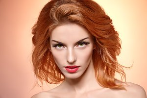 Beauty portrait woman, eyelashes, natural makeup