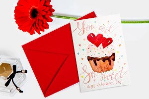 Valentines day lettering card