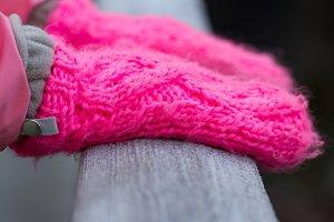 Pink winter gloves
