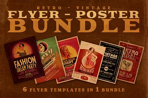 SALE: 6Retro Flyer Templates 60% Off