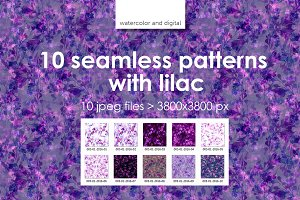 10 seamless patterns with lilac
