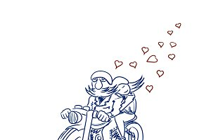 Biker and his girlfriend