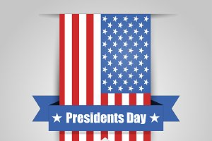 Presidents day Set with 5 illustrati