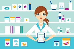 Young pharmacy chemist girl standing