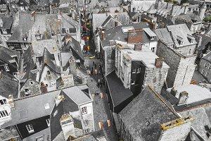 Medieval city aerial view