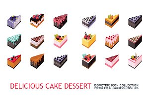 36 isometric cake dessert icon set