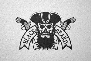 Black Beard pirate logo