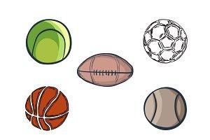 Set of doodle balls. Vector