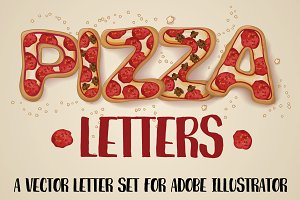 Hand Drawn Pizza Letters