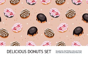 3 donut seamless background patterns