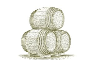 Woodcut Whiskey Barrel Stack