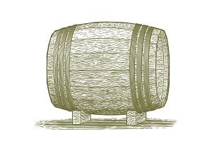 Woodcut Whiskey Barrel
